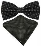 schöne Designer Seidenfliege + Seideneinstecktuch in schwarz silber gepunktet