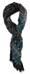 gecrashter Schal in petrol grau schwarz lila braun rose gemustert - 180 x 50 cm