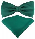 TigerTie Satin Fliege + Einstecktuch grün dunkelgrün Uni Einfarbig + Geschenkbox