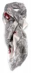 Damen Halstuch weissgrau rot schwarz Motiv Schmetterling Rose - Gr. 100 x 100 cm