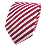 TigerTie Designer Seidenkrawatte rot rubinrot weiß gestreift - Krawatte Seide