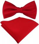 Set Jungenfliege rot knallrot Uni - Halsumfang verstellbar+ Einstecktuch + Box