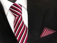 TigerTie Krawatte + Einstecktuch in rot schwarz weiss gestreift - 100% Polyester