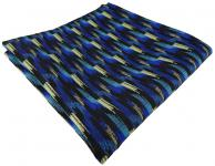 TigerTie Einstecktuch in blau türkis gold schwarz gestreift gemustert - Tuch