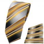 Schmale TigerTie Krawatte + Einstecktuch gold gelb silber anthrazit grau - Tuch