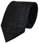 Designer Krawatte schwarz mit Muster pure Seide / Silk