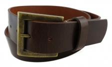 TigerTie - Wasserbüffelledergürtel dunkelbraun - Bundweite 100 cm - 40 mm breit