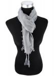 Halstuch grau einfarbig Fransen und Tusseln an den Ecken -Schal Gr. 100 x 100 cm