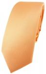 schmale TigerTie Designer Krawatte in lachs orange einfarbig uni Rips