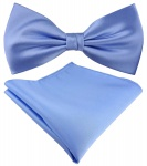 Seidenfliege + TigerTie Satin Einstecktuch in Uni blau - 100% reine Seide