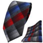 TigerTie Krawatte + Einstecktuch in rot blau anthrazit grau silber kariert