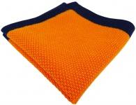 TigerTie Designer Strick Einstecktuch in orange marine Uni - 100% Baumwolle