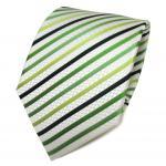 TigerTie Seidenkrawatte grün hellgrün dunkelgrün weiß gestreift - Krawatte Seide