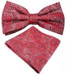schöne Designer Seidenfliege + Einstecktuch Seide rot weinrot silber Paisley