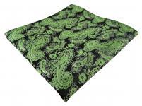 TigerTie Designer Einstecktuch in grün schwarz silber Paisley - Gr. 30 x 30 cm