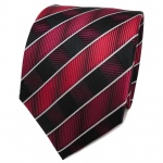 TigerTie Designer Seidenkrawatte rot bordeaux schwarz silber gestreift- Krawatte