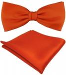 TigerTie Satin Fliege + Einstecktuch orange leuchtorange einfarbig + Geschenkbox