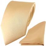 TigerTie Satin Seidenkrawatte + Seideneinstecktuch in beige gold bronze Uni