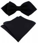 TigerTie Designer Spitzfliege Pique in schwarz gemustert + Einstecktuch + Box