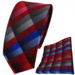 schmale TigerTie Krawatte + Einstecktuch rot blau rosa anthrazit grau kariert