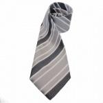 Mexx Krawatte grau weiß gestreift 100% Seide