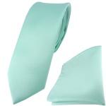 schmale TigerTie Satin Krawatte + TigerTie Einstecktuch mint grün Uni einfarbig