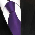 Designer Seidenkrawatte lila dunkellila Uni Rips - Krawatte Seide Silk