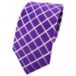 Enrico Sarto Seidenkrawatte lila violett weiß kariert - Krawatte Seide Tie