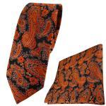 schmale TigerTie Krawatte + Einstecktuch orange schwarz silber Paisley gemustert