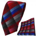 TigerTie Krawatte + Einstecktuch in rot blau rosa anthrazit silber grau kariert