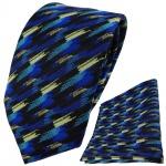 TigerTie Krawatte + Einstecktuch in blau türkis gold schwarz gestreift