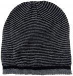 Strickmütze in schwarz anthrazit gestreift - Wintermütze ca. 28 cm x 24 cm