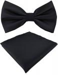 TigerTie Satin Fliege + Einstecktuch in schwarz Uni einfarbig + Geschenkbox