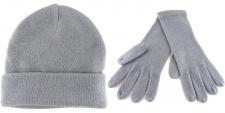2er Set - Strickhandschuhe + Strickmütze in der Farbe grau hellgrau Uni- Größe M