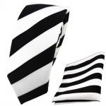 schmale TigerTie Krawatte + Einstecktuch schwarz weiß gestreift