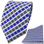 TigerTie Designer Krawatte + Einstecktuch blau grau silber weiss gestreift