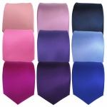TigerTie Designer Satin Krawatte - Uni Rosa Violett Lila Blau - Krawatten in 8 cm Breite