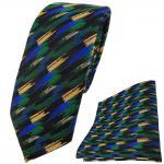 schmale TigerTie Krawatte + Einstecktuch grün blau gold schwarz gestreift