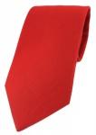 TigerTie Designer Krawatte in rot Uni - 100% Baumwolle - Krawattenbreite 8 cm