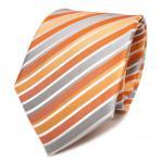 TigerTie Seidenkrawatte orange lachs silber weiss gestreift - Krawatte Seide Tie