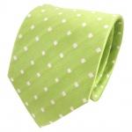 TigerTie Designer Seidenkrawatte grün hellgrün weiß gepunktet - Krawatte Seide