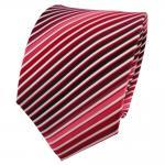 TigerTie Seidenkrawatte rot bordeaux weinrot rosé weiß gestreift - Krawatte Tie