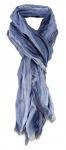 Raffschal in blau gestreift mit kleinen Fransen - Schal Größe 180 x 50 cm
