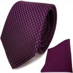 TigerTie Seidenkrawatte + Seideneinstecktuch in lila violett schwarz gepunktet