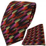 TigerTie Krawatte + Einstecktuch in orange rosa schwarz gold gestreift