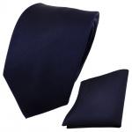 Designer TigerTie Krawatte + Einstecktuch blau dunkelblau royalblau Uni Rips