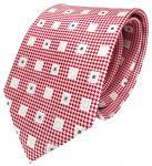 Designer Seidenkrawatte rot weiss silber anthrazit kariert - Krawatte 100% Seide