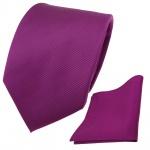 Designer TigerTie Krawatte + Einstecktuch magenta fuchsia violett Uni Rips