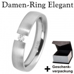 Damen Edelstahl Ring mit Zirkonia +Geschenkbox * Gr. 58