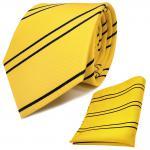 Schicke Designer Krawatte + Einstecktuch gelb goldgelb dunkelblau gestreift